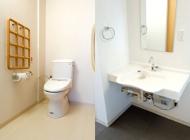 ゆったりスペースのトイレ/車いす対応洗面台
